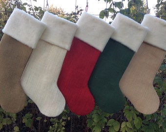 Four Christmas Stockings, Burlap Christmas Stockings, with tags