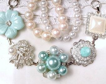 OOAK Mint Green, Ivory Pearl & Rhinestone Vintage Earring Bracelet, Silver Mint Bridal Bracelet, Bridesmaid Gift, Romantic Rustic Wedding