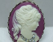 Vintage Reproduction Purple Plum  Cameo with AB Rhinestone Necklace