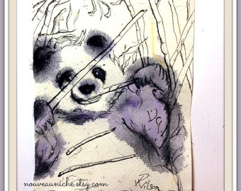 Panda Gifts, Eco Friendly Gifts, original panda art, Weird Valentine Art Gifts, Totem Animals, Unique Art, Unique Gifts for Men