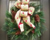 Mixed Pine Wreath, Rustic Winter, Burlap Winter Wreath, Burlap Wreath Winter, Holly Wreath, Winter Door Wreath