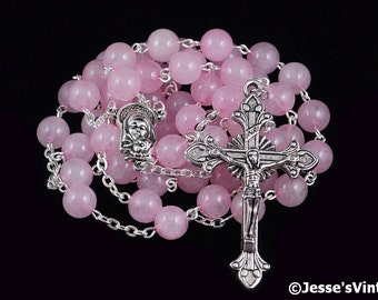 Catholic Rosary Beads Pink Rose Quartz Silver Natural Stone Traditional Gemstone Five Decade