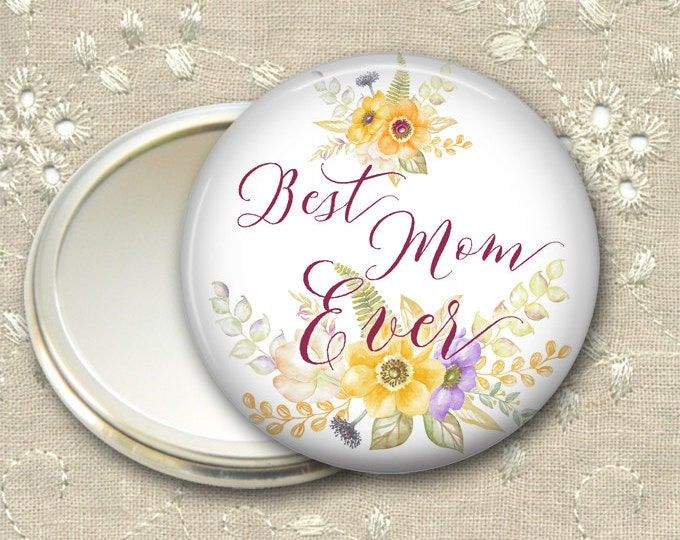 Mother's Day gift for her, flower pocket mirror, floral hand mirror, mirror for purse, compact mirror, fashion accessory MIR-1408