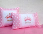 Personalized Princess Crown Pillow Cover - Name Pillow Cover Embroidered Pillow Case Home Decor Girls Pillow Nursery Decor Crown Pillow