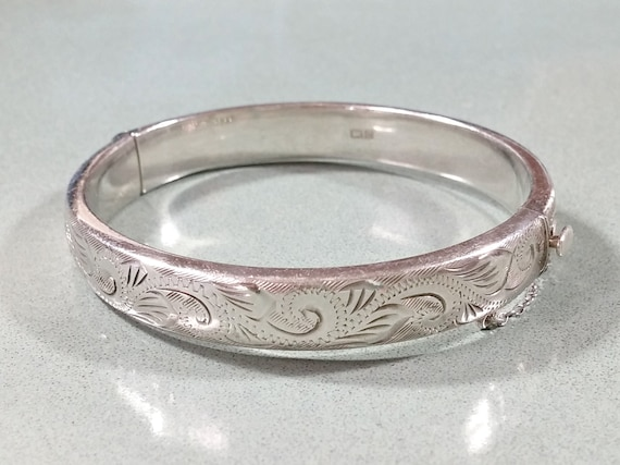 1960s Costume Jewelry – 1960s Style Jewelry Vintage Etched Silver Bracelet Bangle Hinged Gift for her C.P.S. Jewellery Co Birmingham English Sterling Assay Marks Date to 1967 $65.00 AT vintagedancer.com