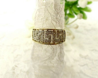 Vintage 9k gold ring with meanderset diamonds 0.10ct || БРИЛЛИАНТ
