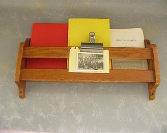 Vintage Hymnal Rack, office storage, book holder, wood, oak