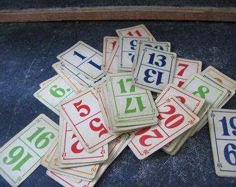Vintage Number Cards, Wedding Table Numbers, Game cards, colorful