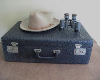 Vintage Black Suitcase, leather, luggage