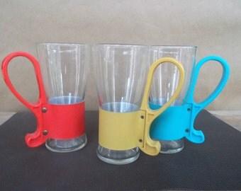 Set of Three Vintage Colorful Vinyl and Plastic Handled Malt Shop Glasses