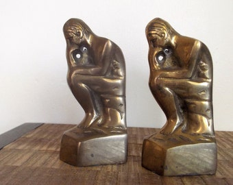 Pair of  Brass Thinker Man Bookends