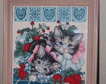 "KITTENS AND STRAWBERRIES - ""Completed and Framed Cross Stitch"""