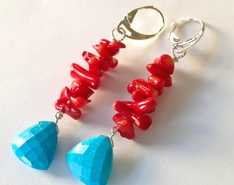 Turquoise earrings sterling silver red coral earrings turquoise long dangle earrings lever backs triangle earrings turquoise jewelry