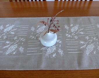 Linen Table Runner Hand Screen Printed White&Natural Australian Grevillea