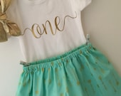 One First Birthday Outfit with Knot Headband; Baby Girl Outfit; Babies first birthday; first birthday dress