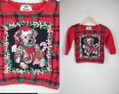 Kids Ugly Christmas Sweater Vintage Teddy Bear Holiday sz 5