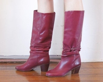 END of SUMMER SALE Just Plummy...Vintage Burgundy 80's Boots,  Low Heel,  Leather, Size 8.5