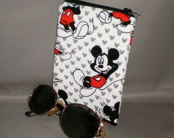 Eyeglass or Sunglasses Case - Mickey Mouse - Padded Zippered Pouch - iPhone - Cell Phone