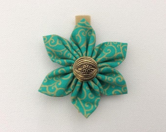 Turquoise and Gold Dog Collar Flower- Ready to Ship