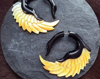 Fake Gauges - Horn with Shell - Sankofa Shell Wings  MOP