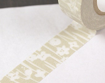 Classiky Japanese washi tape - JAPANESE BLOOMS on pale khaki - beige tan masking tape