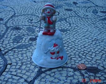 Vintage Porcelain Li'l Vagabond Skiing Clown and Doggie Bell - Enesco 1991