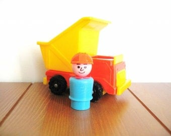 Fisher Price Red Dump Truck with Construction Man