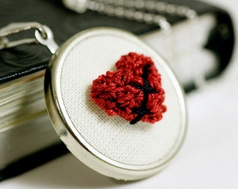 Mended Broken Heart Jewelry Necklace. Punchneedle Fiber Art Wearable Sculpture. Red Garnet and Silver. Harp and Thistle