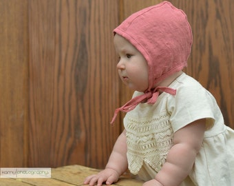 Baby bonnet, spring hat, green linen hat with ties, baby gift, baby girl hat, baby girl bonnet, lightweight hat, rose colored hat