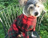 Red and Green Plaid Custom Fleece PJs for Your Dog