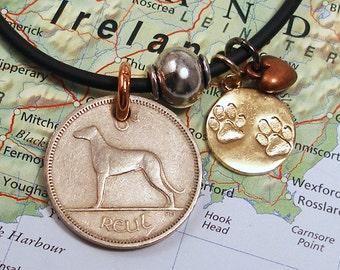 Ireland, Vintage Coin Necklace - - Dog Lover - -  Paw Prints - Mixed Metals - Wolfhound - Best Friend - Working Dog - World Traveller