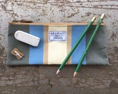 No. 2 Pencil Pouch in Periwinkle Antique Awning Cloth