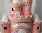 Personalized Disney Princess Castle Piggy Bank- flower girl ,birthday, christenings, communions,Newborn Baby Shower Gift