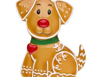 Personalized Christmas Ornaments Gingerbread Dog,Pet Dog, Puppy Dog Bone- Personalized with the name and the year