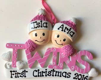 Twin first christmas | Etsy