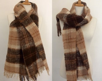 Vintage 1960s Brown Plaid Mohair Scarf / Camel and Brown Check Fuzzy Scarf