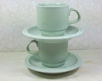 GDR Cups and Saucers, Set of Two, Expresso SIze, Duck Egg Green, Vintage East Germany Pottery, Dishes