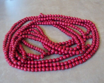 Cranberry Red Wood Beads, 2 Long Strands, Jewelry Components, Jewelry Assemblage