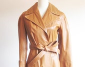 Vintage 1970s Leather Trench Coat Womens Medium M Dark Caramel Brown Camel Authentic Real 70s Full Maxi Belted Cinched Indie Hipster