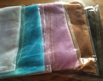 Fabulous Nylon Sheer fashion neck or head Scarves - new - dark brown - tan - blue- white - lavender