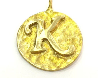 20mm Raw Brass K Charm  G4885
