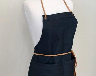 Full Apron Woman Short Mini Apron  Italian Linen Cotton Indigo Skinny Leather Straps Cook