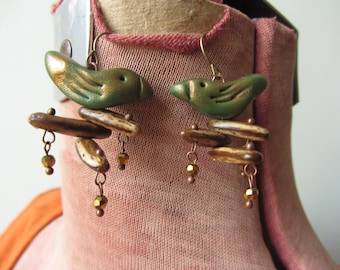 Green Clay Bird Earrings, Rustic Bird Jewellery, Boho Dangle Earrings, Folk Art Birds, Gifts under 15, Bird Lover Gifts, Upcycled Jewelry