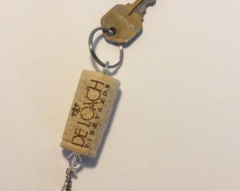 Wine Cork Key Chain with Pink Crystal Charm