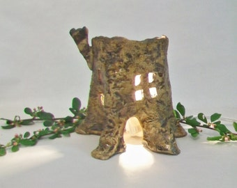 Tree Stump Fairy House / Night Light - Handmade on the Potters Wheel - Each is a One of a Kind - Ready to Ship - Actual Stump