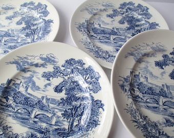 Vintage Wedgwood Countryside Blue and White Dinner Plates Set of Four Classic Style Weddings Bridal