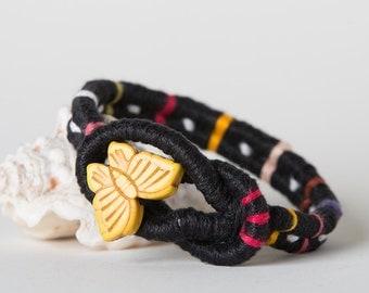 """Yellow Butterfly Boho Bracelet 7"""""""