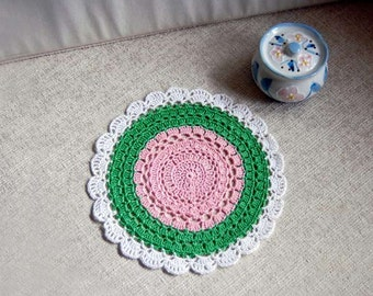 Island Decor Crochet Doily, Tropical Decor, Pink, Green, White, Lace Placemat