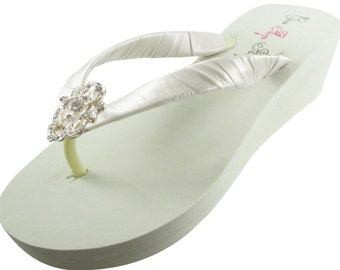 Ivory & Antique Vintage Lace Wedding Flip Flops with Rhinestone Bling