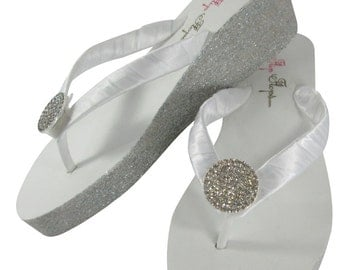 Round Jewel Glitter Wedge- Ivory or White- Flip Flops with 2 inch heel- Bride/ Bridesmaid Flip Flop Sandal-Silver, Gold, Champagne